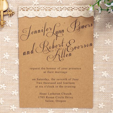 affordable simple country lace wedding invitations ewls021 as low as 1 79