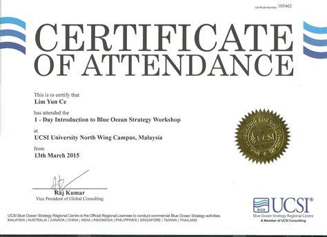 Certificate of Attendance   Internship@UCSI Blue Ocean