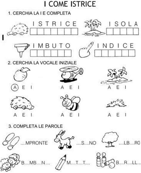 parole 9 lettere scheda esercizi vocali a e i classe prima scuola