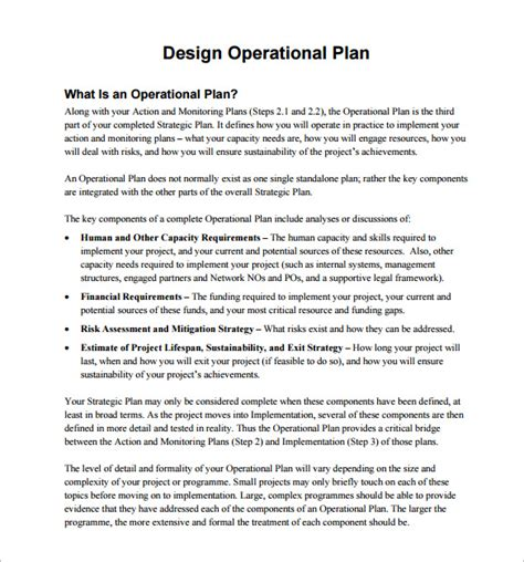 operational plan template for business plan operational plan template 11 free word pdf documents