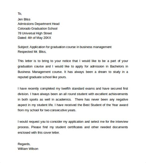 cover letter for graduate school sle cover letter for master thesis application
