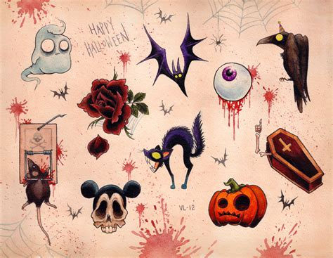 small scary tattoos flash sheet festival collections