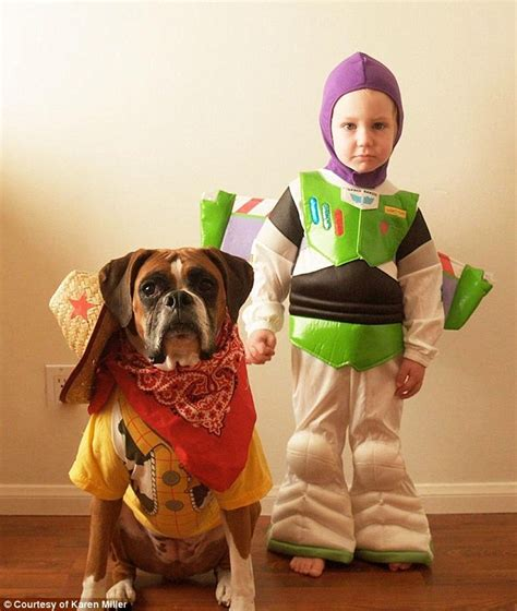 new year costumes for pets boy and his pet coordinate their costumes