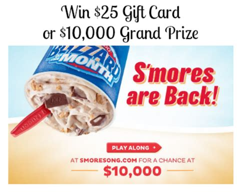 Dq Gift Card - 90 free 25 dairy queen gift card plus win 10 000