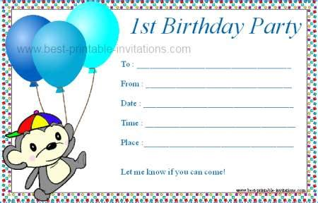 1st birthday invitation templates free 7 best images of boys birthday invitations printable