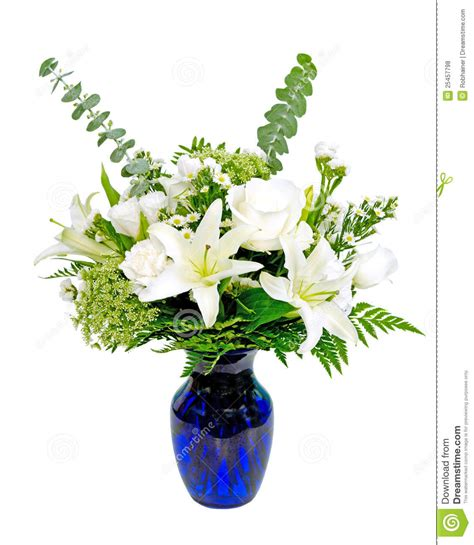 White Lily Vase White And Green Flower Arrangement Centerpiece Stock Photo