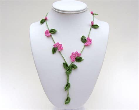 crochet jewelry patterns with crochet necklace pdf pattern vine necklace photo tutorial