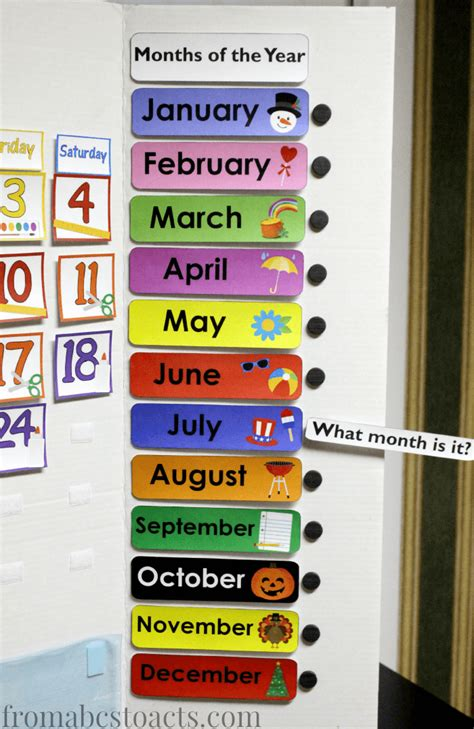 Months Of The Year Calendar Home Preschool Calendar Board From Abcs To Acts