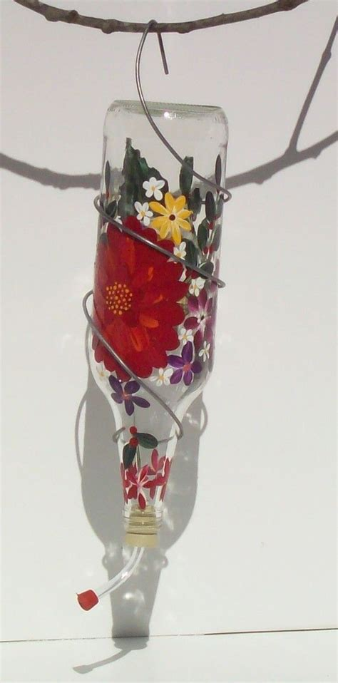 homemade hummingbird ornaments hummingbird feeder painted recycled glass birds humming bird feeders hummingbird