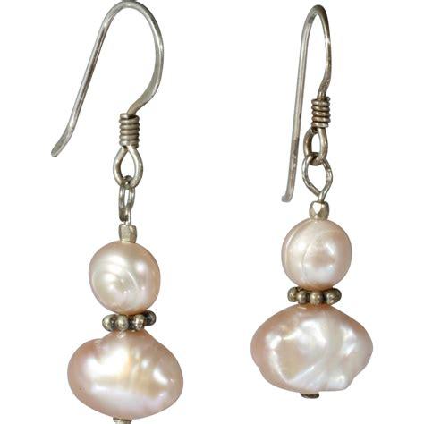 Freshwater Pearl Earring pink freshwater pearl dangle earrings from catisfaction on