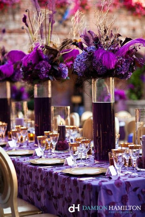 purple water centerpieces dramatic purple wedding centerpiece with dyed water in