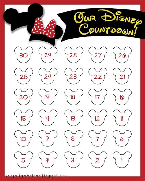 countdown chart template printable disney countdown calendar search results