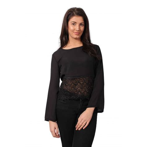 sleeve chiffon top black sleeve crochet chiffon top parisia fashion