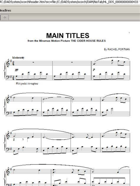 house music titles main titles from the cider house rules sheet music direct