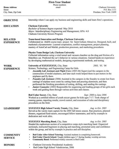 resume templates for students in printable templates free