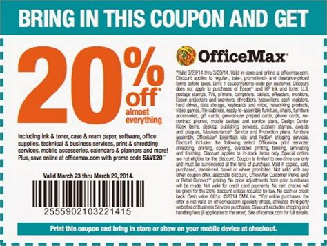 Office Max Coupons Office Max Coupon 20 Purchase Get A Printable Office