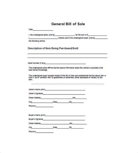printable generic car bill of sale are bill of sale forms specific to certain items