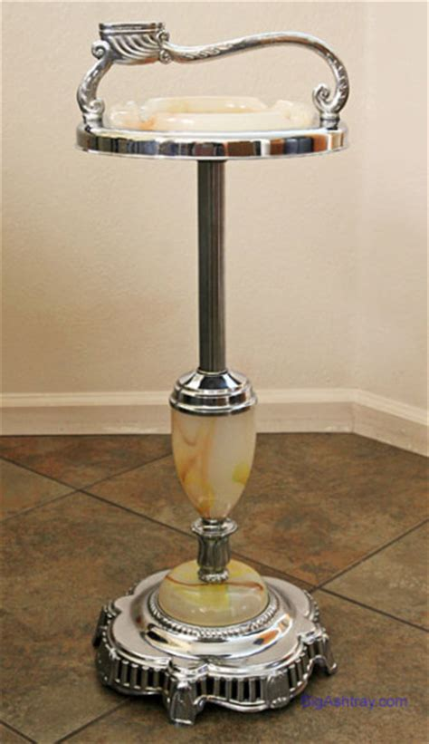 Floor Ashtray by Standing Floor Ashtray Slag Glass And Chrome Big Ashtray