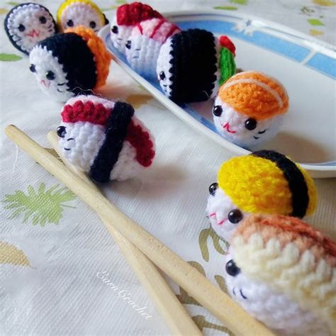 amigurumi sushi pattern amigurumi sushi set 2in1mini crochet dollkawaii crochet