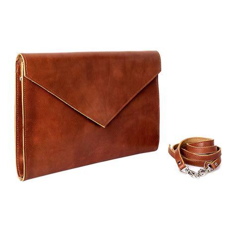 envelope leather clutch bag by iris notonthehighstreet
