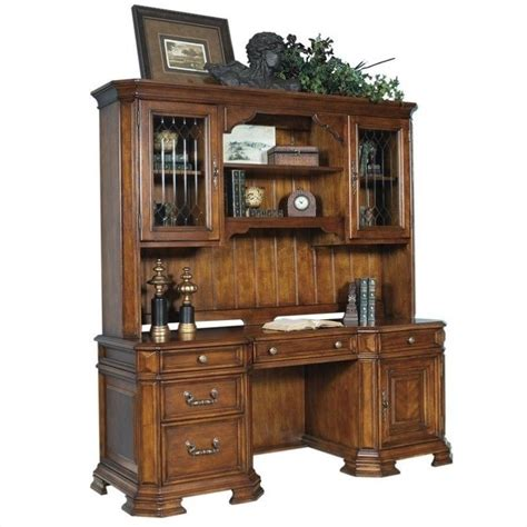 samuel office desk with hutch in brown