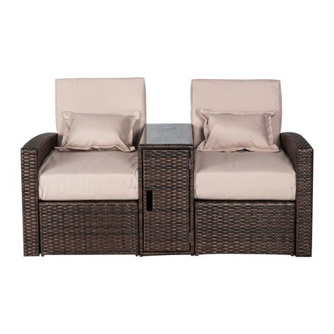 3pc Patio Rattan Wicker Lounge Outdoor Furniture Chaise Sofa And Chaise Lounge Set