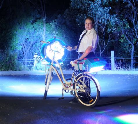 brightest light in the world led bike full power into trees