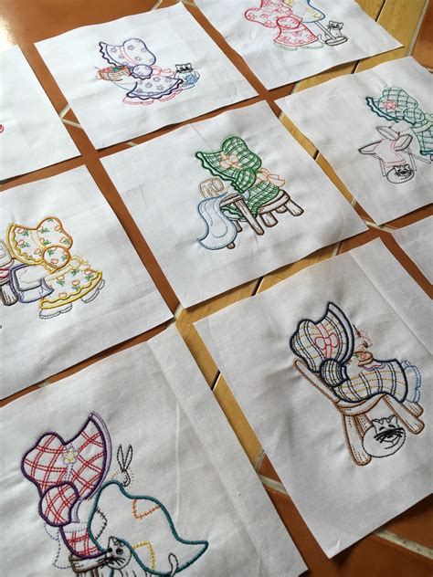 Quilts With Embroidered Blocks by 9 Sunbonnet Sue Sews Embroidered Quilt Blocks Ready To Sew
