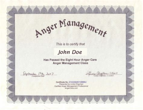 anger management certificate template 10 best images of manager certificate template sle