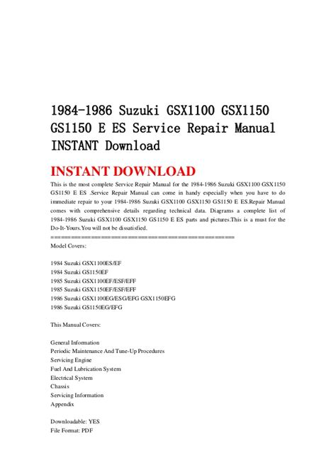 service repair manual free download 1986 ford e series engine control 1984 1986 suzuki gsx1100 gsx1150 gs1150 e es service repair manual in