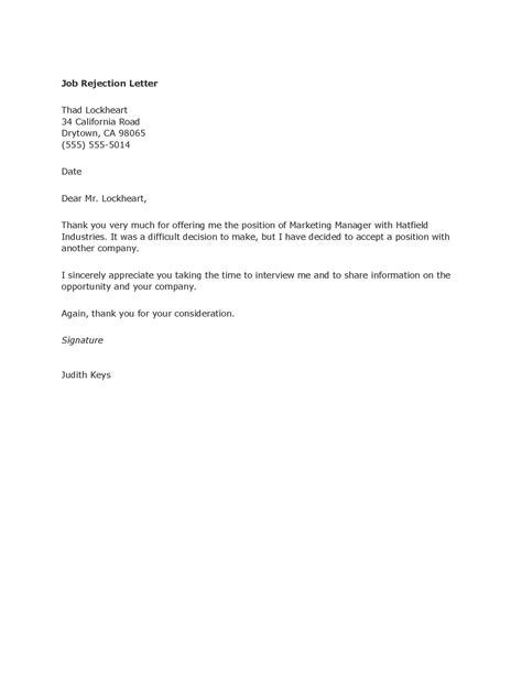 Rejection Letter After Offer Best Photos Of Vendor Rejection Letter Sle Business Rejection Letter Offer