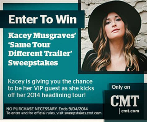 Sweepstakes Cmt Com - cmt offers fans to win a trip to see kacey musgraves on her same tour different