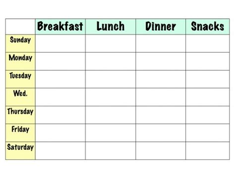 search results for monthly meal planning template