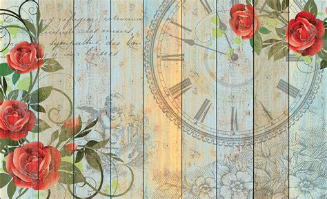 Wallpaper Sticker Vintage Flower 45 Cm X 10 Mtr Wall Stiker roses clock wood planks vintage wall paper mural buy at