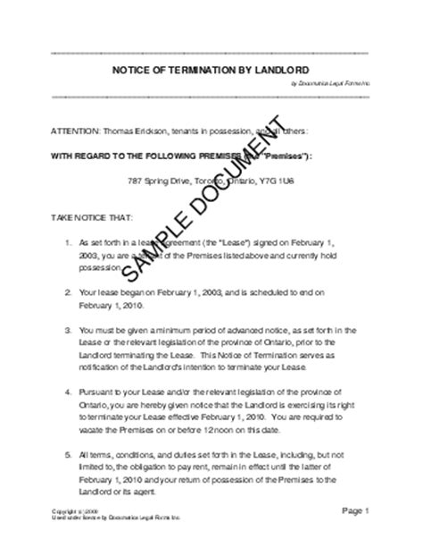 Retail Lease Notice Of Termination Notice Of Termination By Landlord Canada Templates Agreements Contracts And Forms