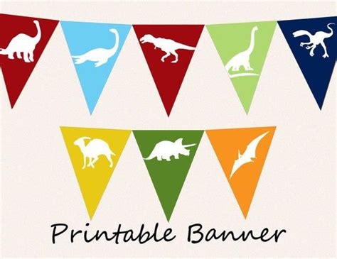 free printable dinosaur happy birthday banner printable banner dinosaur pennants diy bunting flags for