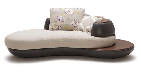 Beige Leather Chaise Lounge Beige Brown Fabric Leather Modern Sectional Sofa W Chaise