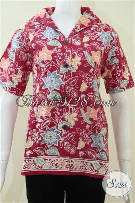 Blus Batik Cahya Merah M Xl batik blus ukuran xl pakaian batik masa kini warna merah desain istimewa berkelas cocok untuk