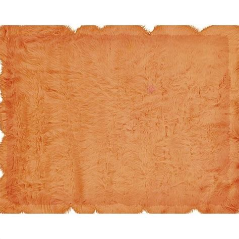 Linon Rugs Faux Sheepskin Rectangular Area Rug In Orange 1 Faux Rugs
