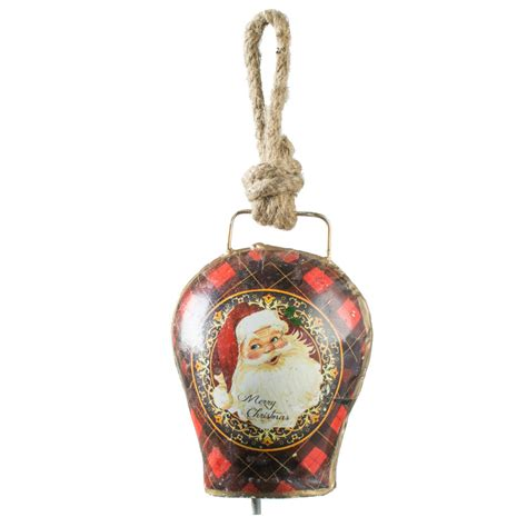 5 quot vintage christmas bell ornament singing santa xt231a