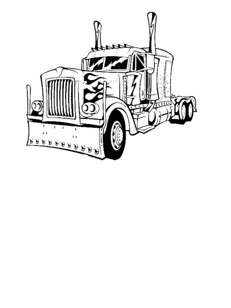 transformer truck coloring page optimus prime truck coloring page