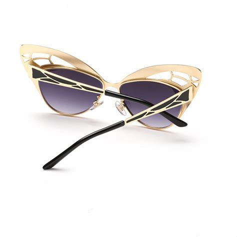pc resin lens butterfly style sunglasses metal frame