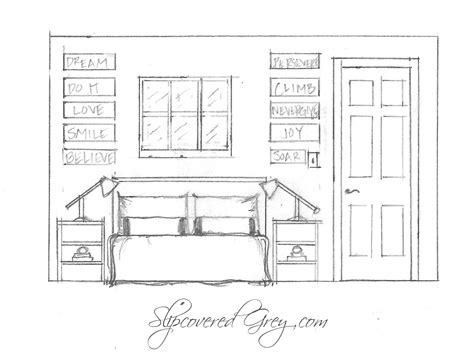 elevation of bedroom choosing colors slipcovered grey