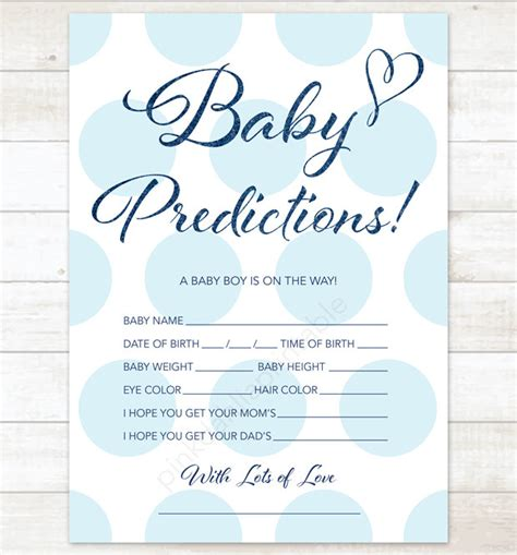 Team Prediction Card Template by Baby Prediction Card Baby Blue Polka Dots Baby Shower Diy