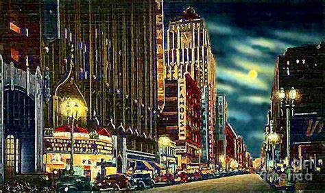 angelus paint los angeles ca theatre row on broadway in los angeles ca 1942 painting by
