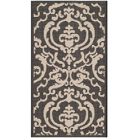Safavieh Courtyard Black Sand 2 Ft X 3 Ft 7 In Indoor Outdoor Rugs Home Depot