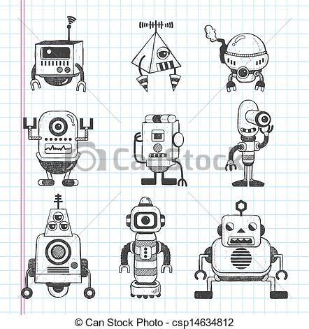 doodlebug spiral drawing robot set vector clip of set of doodle robot icons csp14634812