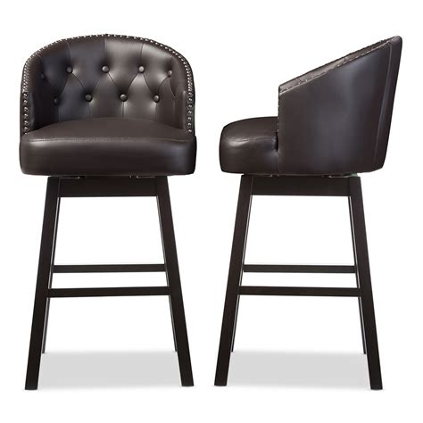 Bar Stools Modern Leather by Baxton Studio Avril Modern And Contemporary Brown Faux