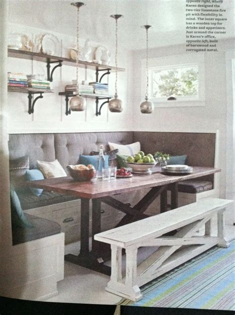 Gray Upholstered Banquette And A Trestle Table Kitchen Nook Ideas Pinterest