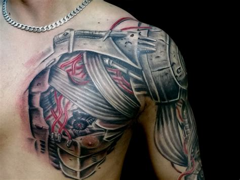 chest to arm tattoos robotic arm sleeve and details
